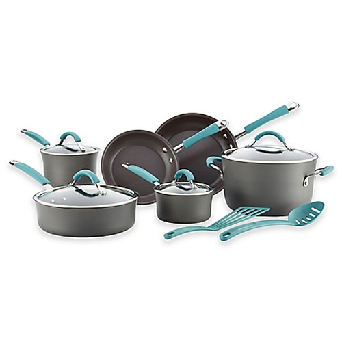 Rachael Ray™ Cucina Hard-Anodized 12-Piece Cookware Set in Agave Blue