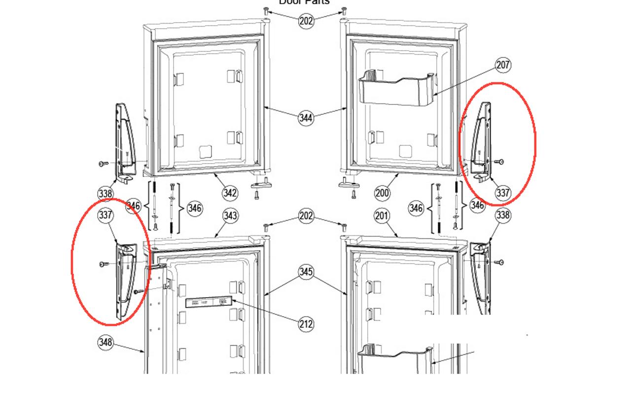 Dometic Refrigerator Door Handle (Bottom LH/Top RH) 3851299028 ...
