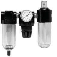 Poly Filter, Regulator, Lubricator and Gauge Modular Unit with Manual Drain