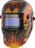 Solar Powered Auto Dark Welding Helmet, Flaming Skulls TTN-41266