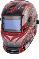 Solar Powered Auto Dark Welding Helmet, Red and Silver TTN-41267