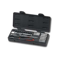 22 Piece 1/4 in  Drive SAE 6 and 12 Point Socket Set (Shallow and Deep)