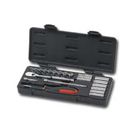 22 Piece 1/4 in  Drive Metric 6 and 12 Point Socket Set