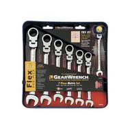 7 Piece Metric Flex Head Combination Gear Wrench Set