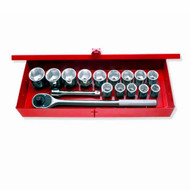 3/4 IN DR CHROME SOCKET SET IN METAL BOX 6-PT 15/16 IN TO 2 IN W/ACCESSORIES 16 PC