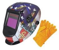 Large Viewing Area Auto-Darkening Solar Welding Helmet & Welding Gloves