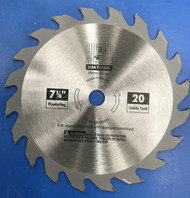 7-1/4 20 Tooth Carbide Tipped Saw Blade
