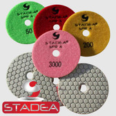 Stadea Dry Diamond Polishing Pads 4 Inch Set For Granite Concrete Marble Stone Glass Polishing (Series Super A)
