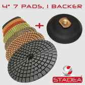 "Stadea 4"" Diamond Polishing Pads Concrete Marble Granite Kit 8 Pads 1 Backing Pad, Series Standard A"