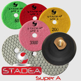 "4"" DRY DIAMOND POLISHING PAD Set+1 RUBBER VELCRO BACKER"