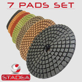 "5"" DIAMOND POLISHING PADS 5 Sets: 35 Pcs GRANITE MARBLE"