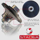 Diamond Hand Profiler Wheel Bits 9/16 inch Profile Router Bit Half Bullnose B15 For Granite Marble Stone Grinder Polisher By STADEA