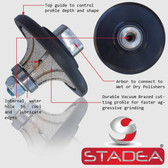 "3/4"" Granite Bullnose Profile Wheel Edges Half Radius Demi B20 For Marble Stone Profile Grinding By STADEA"