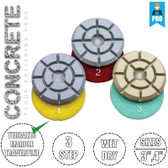 "Stadea Diamond Floor Polishing Pad - 3 Step Wet Dry Pads - Concrete Floor Polishing - 3"", 4"" - Series Super C"