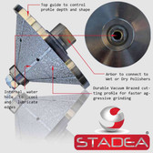 "Diamond Profile Grinding Wheels Bits - Bevel E40 1 1/2"" Marble Stone Granite Profile Edges By STADEA Arbor M14"