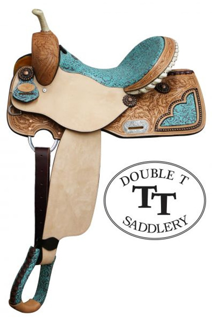"""14"""", 15"""", 16"""" Double T Barrel Style Saddle with Filigree Print Seat. This saddle features teal colored seat with filigree pattern. Floral tooled skirts feature with cut out filigree print accented copper colored studs. Tooled cantle is accented with silver laced rawhide. Bell stirrups feature filigree print with leather tred. Saddle is accented with copper colored conchos and engraved silver rigging plate. Saddle comes equipped with D-rings on front of skirts and leather latigo tie strap and off billet. Made by Double T Saddlery. This saddle matches headstall and breast collar set #6576set  Model:  6576  Seat:  14"""", 15"""", 16"""" Filigree print  Bars:  *Full Quarter horse"""