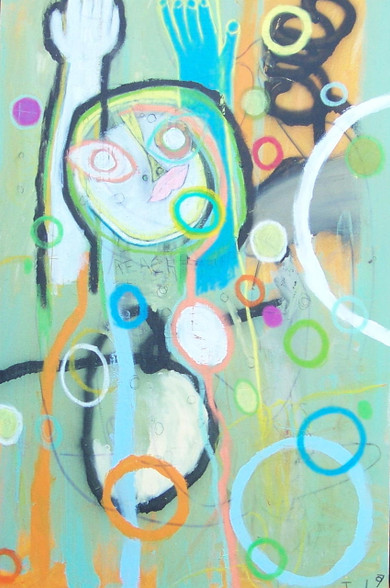 """Acrylic, Oil Stick and Crayon on Canvas.  Gallery Wrapped.  36 x 24"""""""