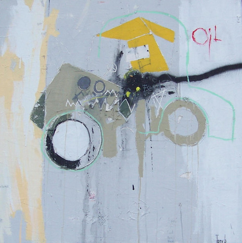 Acrylic, Oil, Oil Stick, Charcoal Pencil and Spray Paint on Canvas.  Gallery Wrapped.  36 x 36""