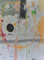 """Acrylic, Oil Stick, Pastel Crayon, Pencil and Marker on Canvas.  Framed.  42 x 32"""""""