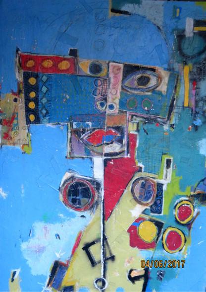 "Street Walker - Mixed Media on Canvas  - Unframed.  72 x 49 1/2"""