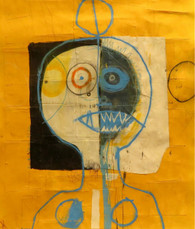 """Meat Head - Mixed Media on Canvas Panel, 19 5/8 x 21 3/4"""""""