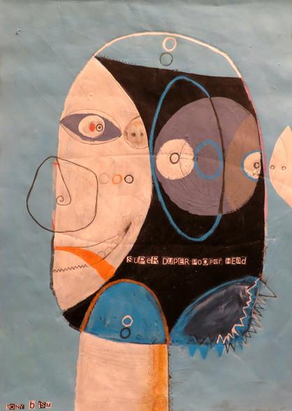 """Super Duper Pooper Head - Mixed Media on Canvas Panel, 16 x 21 3/4"""""""