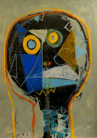 The Face of Confusion - Mixed Media on Canvas Panel, 14 x 19 1/4""