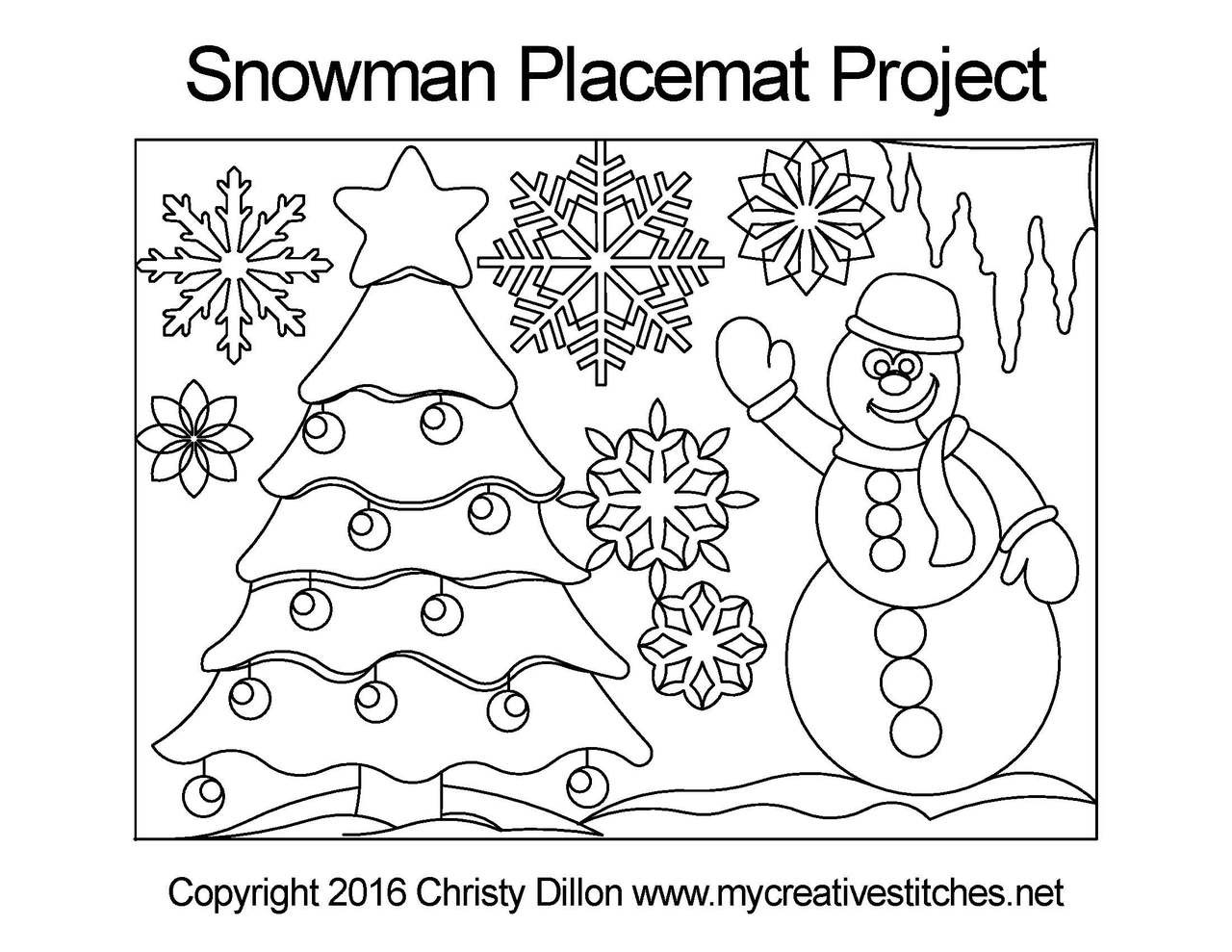 Computerized Quilting Project Snowman Placemat