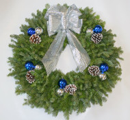Silver - Blue Balsam Christmas Wreath