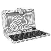 Digital2 ACK961B-PZA 9 Micro USB Case & Keyboard - Fits 9 Tablets (White/Silver Zebra Print)