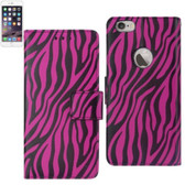 Reiko Wallet Case 3 In 1 For Iphone6 Plus/ 6S Plus 5.5Inch Zebra Pattern Hot Pink