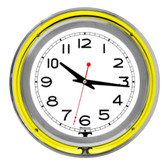 Neon 14 White Inner Double Ring Neon Clock; Silver/Yellow Outer