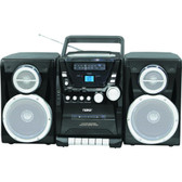 Naxa Portable CD Player with AM/FM Stereo Radio Cassette Player/Recorder  Twin Detachable Speakers