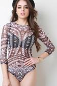 Tribal Print Semi Sheer Bodysuit - UNG66191BLCWHTS