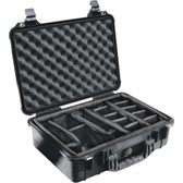 PELICAN 1500-004-110 Case with Padded Divider (1500 Case; Dim: 16.75L x 11.18W x 6.12H)