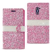 Reiko Zte Grand X Max 2/Z988 Rhinestone Wallet Case Pink