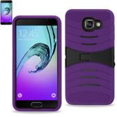 Reiko Samsung Galaxy A3(2016) Hybrid Heavy Duty Anti Slip Case ( Silicon Case+Protector Cove) With Kickstand-Purple Black