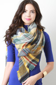 Multi Colored Plaid Woven Blanket Scarf - UNG70363