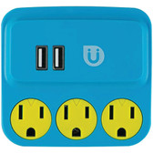 GE 25114 Uber(TM) 3-Outlet Power Tap with 2 USB Ports (Blue & Yellow)