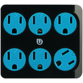 GE 25112 Uber(TM) 6-Outlet Power Tap (Black & Blue)