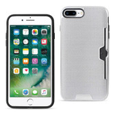 Reiko REIKO IPHONE 7 PLUS SLIM MESH SURFACE ARMOR HYBRID CASE WITH CARD HOLDER IN SILVER