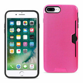 Reiko REIKO IPHONE 7 PLUS SLIM MESH SURFACE ARMOR HYBRID CASE WITH CARD HOLDER IN HOT PINK