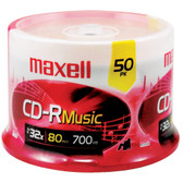MAXELL 625156 - CDR80MU50PK 80-Minute Music CD-Rs (50-ct Spindle)