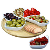 Elama Signature Modern 13.5 Inch 7pc Lazy Susan Appetizer and Condiment Server Set with 6 Unique Design Serving Dishes and a Bamboo Lazy Suzan Serving Tray