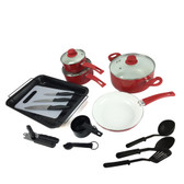 Plateau 27pc Aluminum Cookware Combo Set - Red