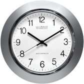 LA CROSSE TECHNOLOGY WT-3144S 14 Silver & Chrome Atomic Wall Clock