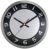 TIMEKEEPER 2253SB 9 Brushed Metal Round Wall Clock (Black/Silver Face)