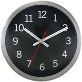 TIMEKEEPER 2253B 9 Brushed Metal Round Wall Clock (Black Face)