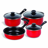 Gibson Home Chef Du Jour 7-Piece Cookware Set, True Red