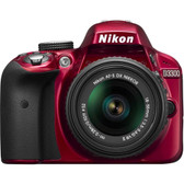 Nikon D3300 24.2 Megapixel Digital SLR Camera with Lens - 18 mm - 55 mm - Red - 3 LCD - 16:9 - 3.1x Optical Zoom - Optical (IS) - 6000 x 4000 Image - 1920 x 1080 Video - HDMI - HD Movie Mode - 18208015337